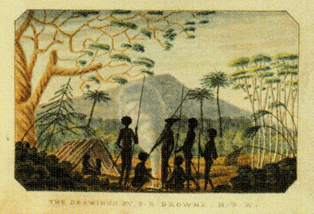 Aboriginal camp near Sugarloaf Mountain, drawing by TR Browne in T Skottowe, Select Specimens from Nature…of NSW 1813, SLNSW