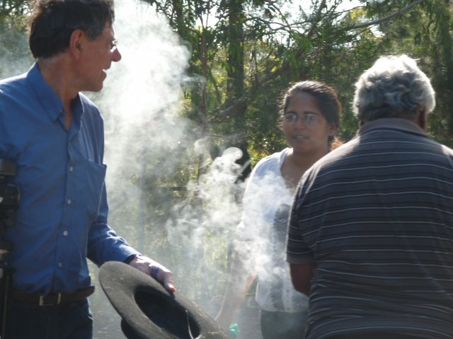 Peter Read, Sheena Kitchener, Uncle Ivan Wellington at smoking ceremony, Appin Masscare memorial, 2012