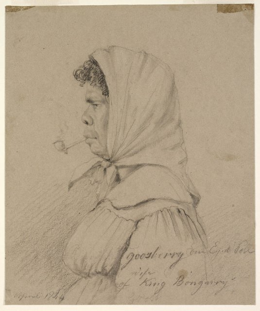 Cora Gooseberry, One Eyed Poll, Wife of King Bungaree by Charles Rodius, c1844.  SLNSW
