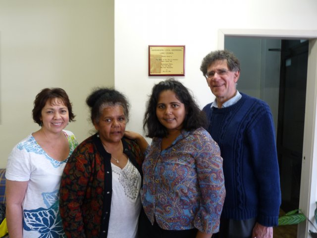 Karen Maber, Dolly Brown, Sheena Kitchener and Peter Read at original offices of Gandangara Local Aboriginal Land Council