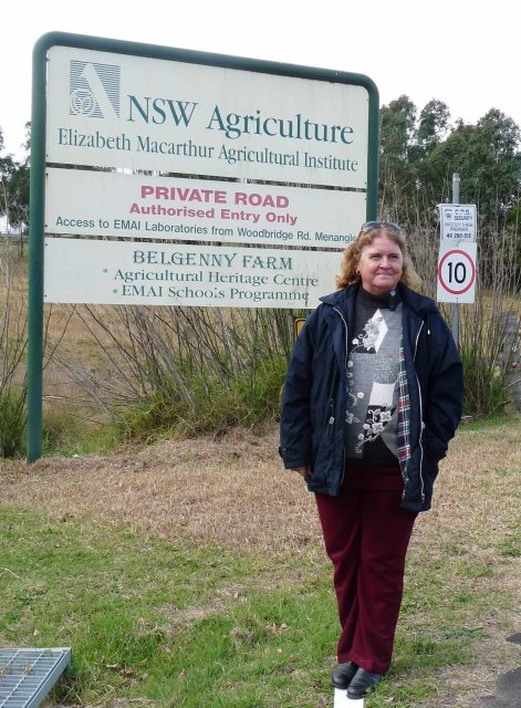 Auntie Glenda Chalker at Belgenny Farm entrance sign