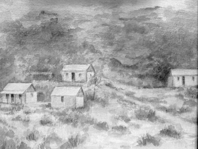 Buildings on Sackville Reserve c1890. Watercolour by Daphne Kingston.