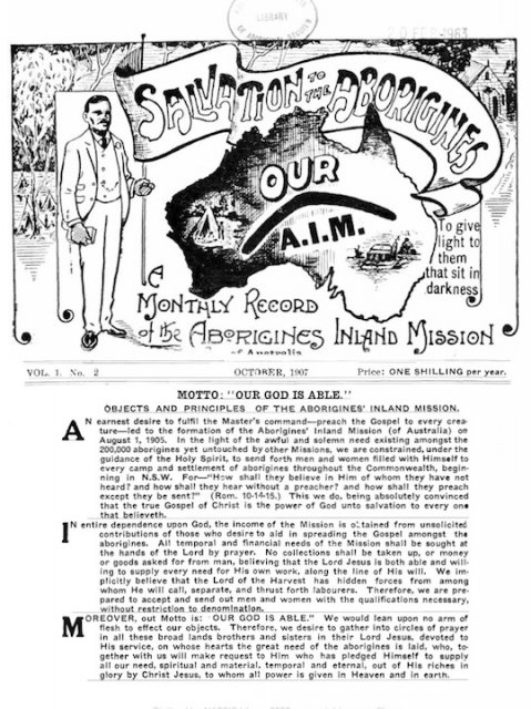 Aborigines Inland Mission monthly record: Our AIM, cover Oct 1907