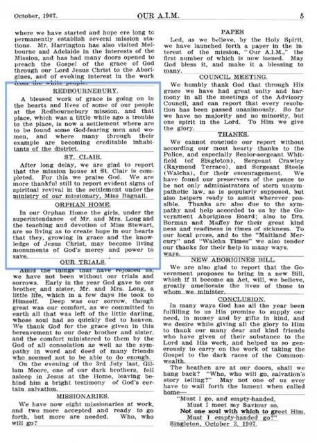 Aborigines Inland Mission monthly record: Redbournebury, St Clair & Orphan Home 1907. AIATSIS