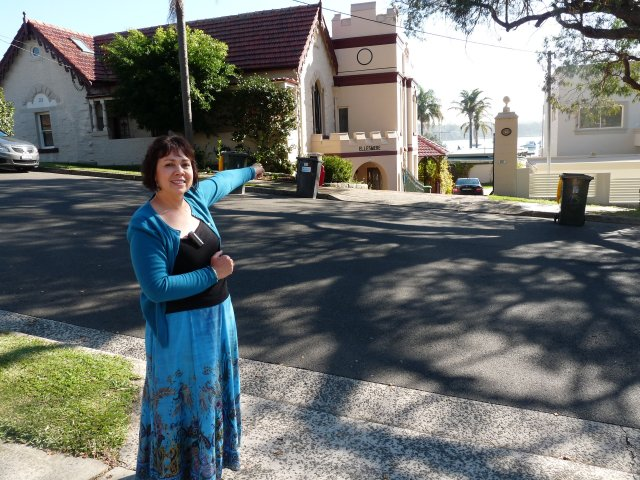 Karen Maber outside Ellesmere House, Sans Souci site of Ellesmere Blacks Camp, Kogarah Bay
