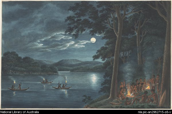 Aborigines Fishing by Torchlight on Lake Macquarie and Cooking Fish on Campfires. Joseph Lycett c1817. NLA