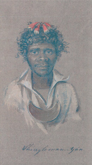 King Shingleman Yan of Lake Macquarie. Artist Alfred Agate c1839.